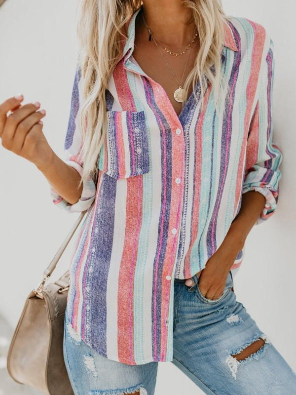 Multicolor Stripe Long Sleeve Blouse
