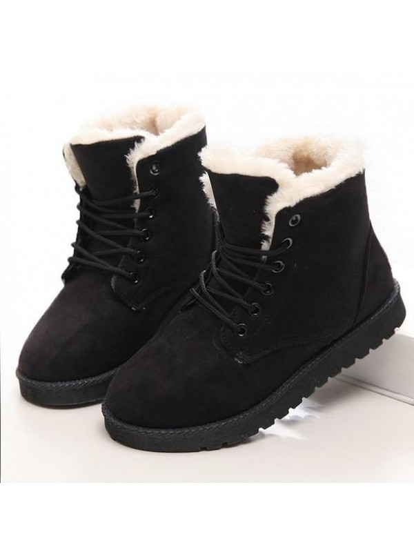 Women Warm Fur Waterproof Ankle Snow Boots
