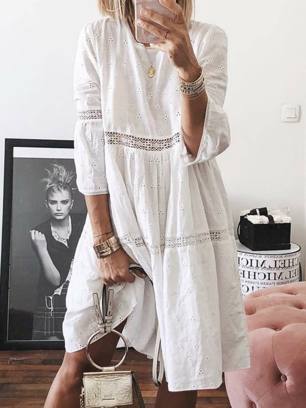 Casual Cotton Shift Daily Paneled Crew Neck Summer Dress