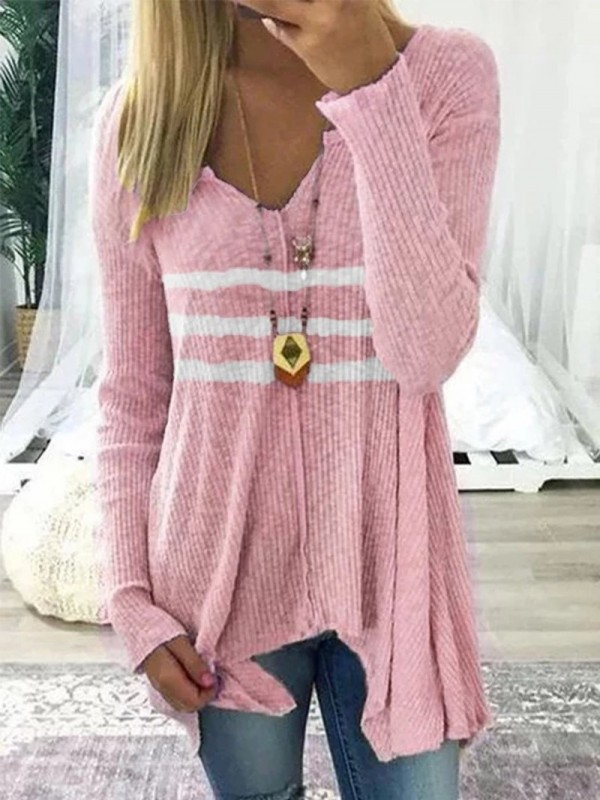Striped Casual Vneck Long Sleeve Shirt