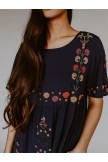 Summer Embroidered Crew Neck Dress