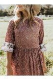 Country Floral 3/4 Sleeve Midi Dress