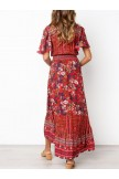 Vintage Bohemian Pattern VNeck Dress