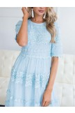 Pure Angel Lace Embroidered 3/4 Sleeve Dress