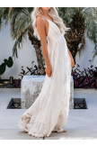 V Neck Open White Lace Maxi Dress
