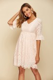 Solid Short Sleeve Round Neck Casual Dress