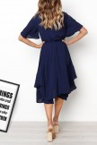 Round Neck Short Sleeve Elastic Waist Asymmetrical Hem Casual Dresses