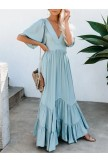 Floor Length Half Sleeve V Neck Maxi Dress