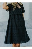 Solid Color Round Neck Lace MOM Dress