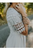 Solid Color Shortsleeved Round Neck Lace Dress