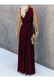 VNeckline Wine Maxi Dress