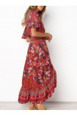 VNeckline Lace Trim Button Front Floral Maxi Dress