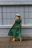 Adella Smocked Maxi Dress in Green