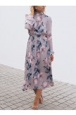 Lilac Floral Print High Frill Neckline Long Sleeve Pleated Dress