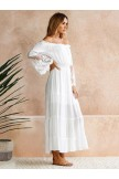 Sexy Lace Splitjoint Offtheshoulder Flared Sleeves Maxi Dress