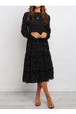 Polka Dot Prient Ruffled Midi Dress